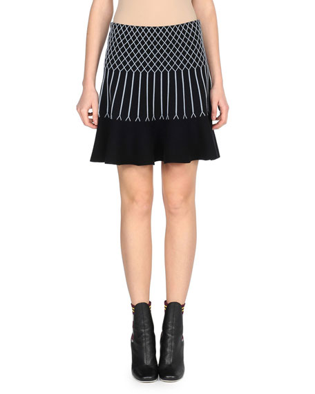 Flared Knit Geometric Skirt, Black/Blue