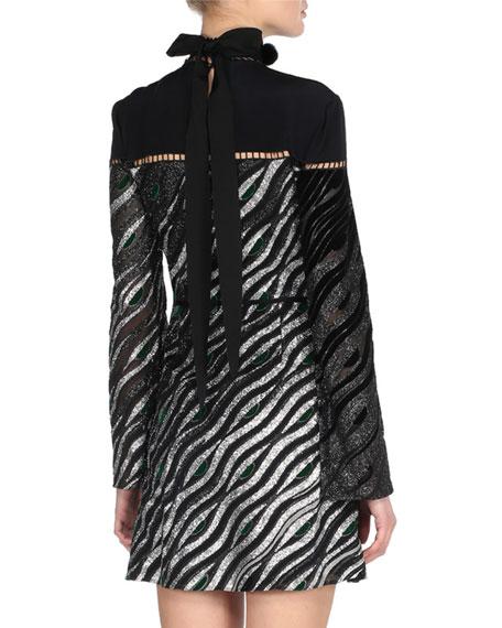Long-Sleeve Mink-Collar Metallic Dress, Black Pattern