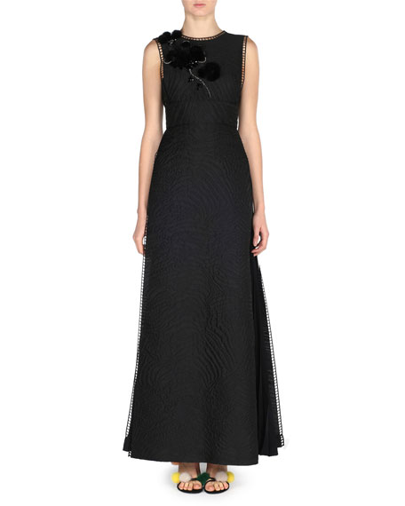 Jacquard Gown w/Mink Fur Flower, Black