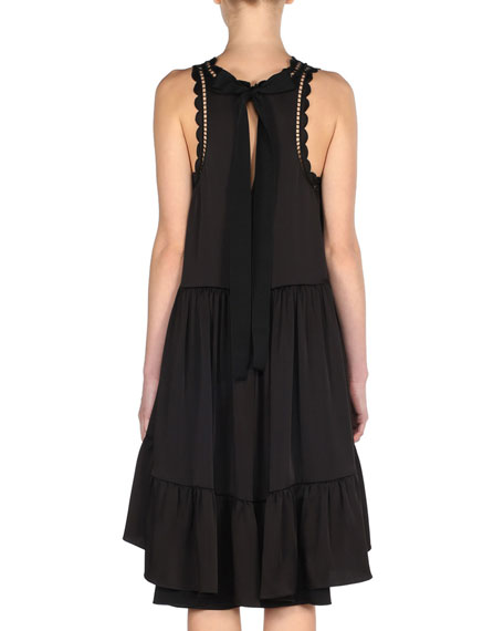 Scalloped High-Low Crepe Dress, Black