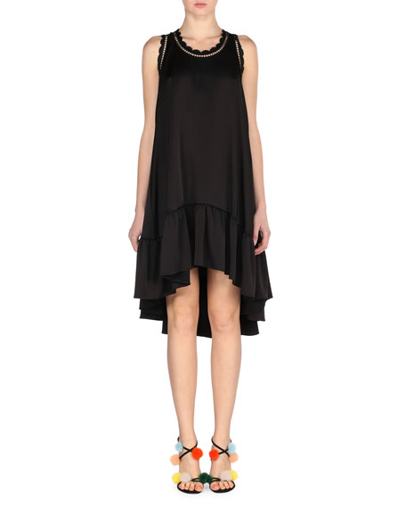Scalloped High-Low Crepe Dress, Black