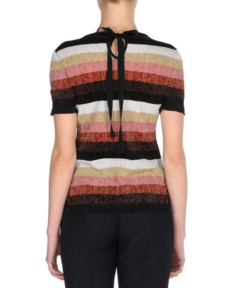 Metallic Striped Short-Sleeve Sweater w/Mink Fur Pin, Silver