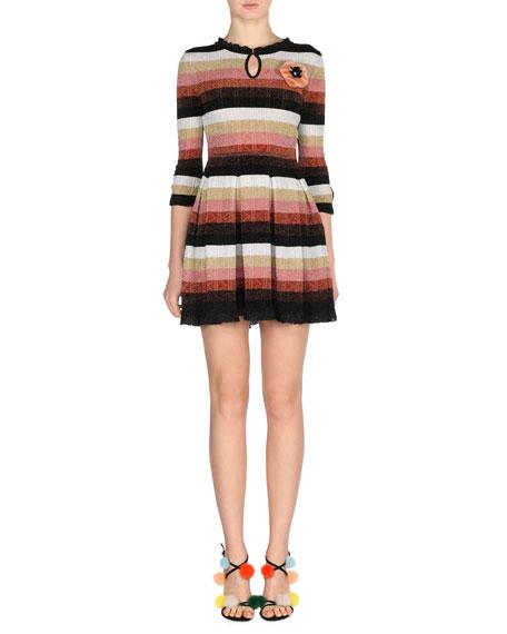 Metallic Striped-Knit Dress w/Fur Pompom, Silver