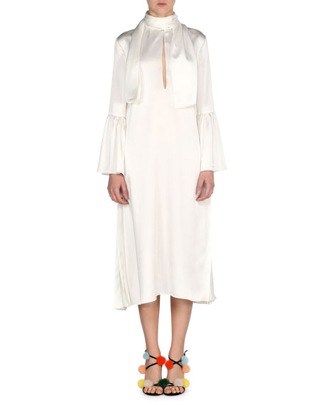 Fendi Satin Cady Tie-Neck Dress, Ivory