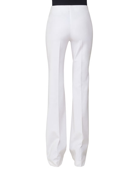 Boot-Cut Techno Stretch Pants, Off White