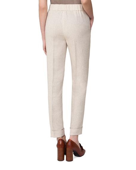 Cuffed Stretch-Gabardine Pants, Gray