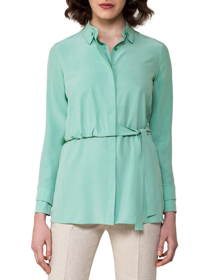 Silk Crepe Trench Blouse, Light Green