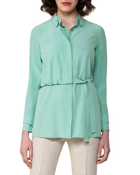Silk Crepe Trench Blouse, Light Green