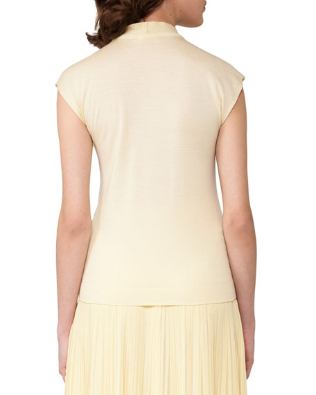 Knit Mock-Neck Top, Light Yellow