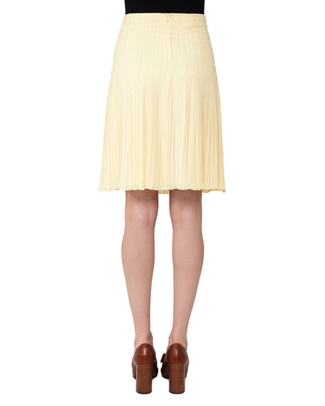 Pleated Georgette Skirt, Light Yellow
