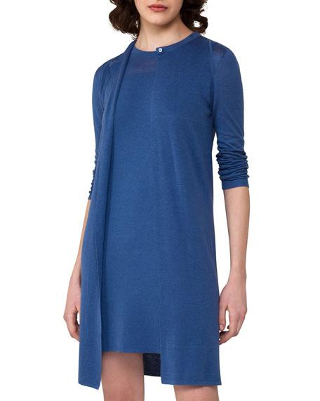 Long Linen-Silk Cardigan, Light Blue