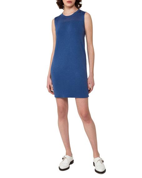 Sleeveless Stretch-Linen Shift Dress, Light Blue