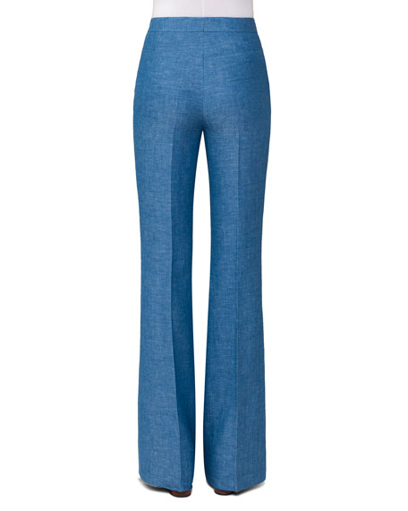 Herringbone Linen Boot-Cut Pants, Light Blue