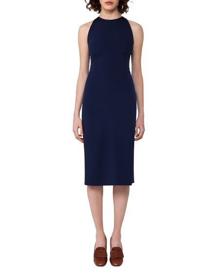 Silk-Crepe Sheath Dress, Blue