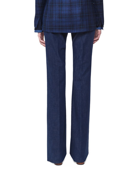 Boot-Cut Denim Pants, Blue