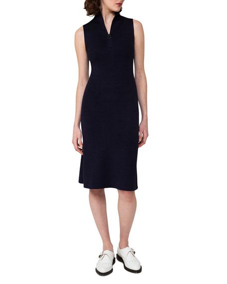 Sleeveless Zip-Front Sheath Dress, Blue