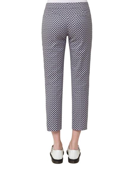 Check-Print Stretch-Gabardine Pants, Off White