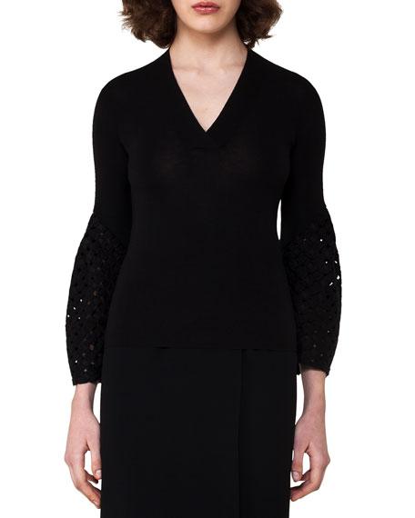 Lace Bell-Sleeve Top, Black
