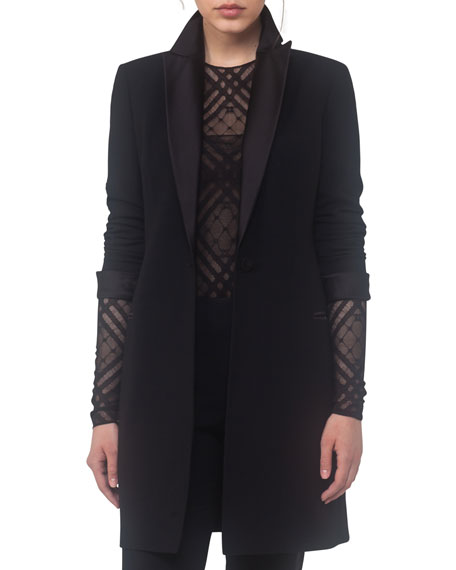 Long Tuxedo Jacket, Black