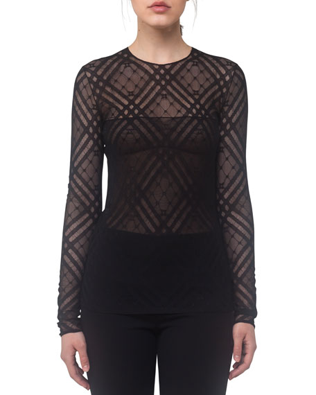 Sheer Plaid Jersey Top, Black