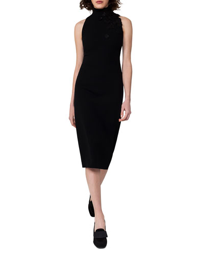 Sleeveless Mock-Neck Midi Dress, Black