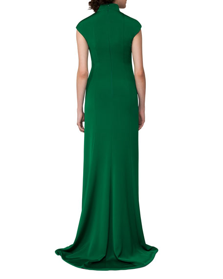 Cap-Sleeve Stretch-Crepe Gown