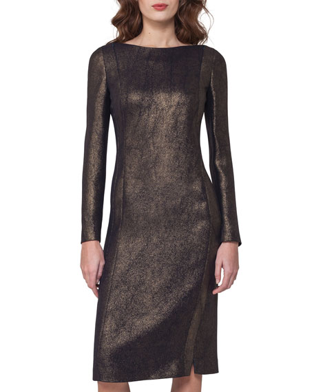 Long-Sleeve Metallic Cocktail Dress, Black