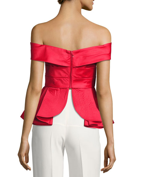 Off-Shoulder Peplum Top, Red