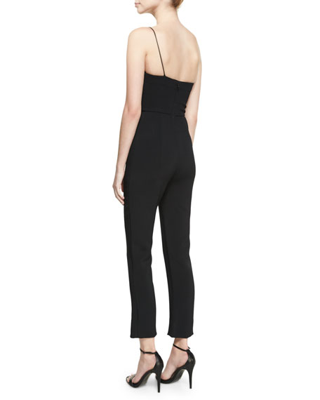 Stefanie One-Shoulder Slim-Leg Jumpsuit