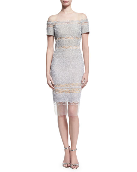 Short-Sleeve Ombre Sequined Cocktail Dress, Blue/Silver