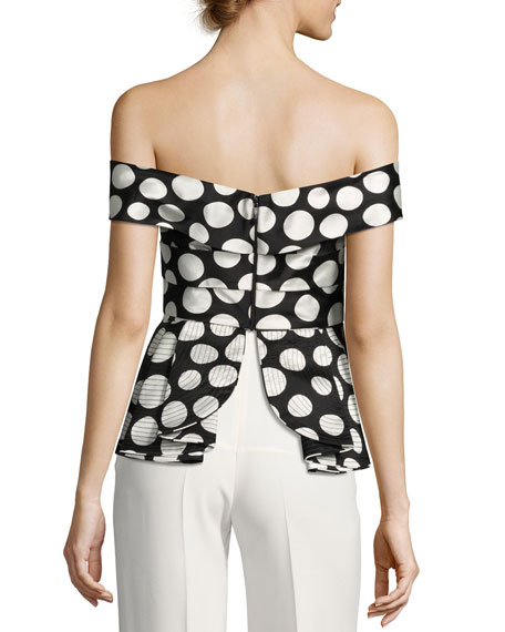 Off-Shoulder Polka Dot Silk Top, Black/White