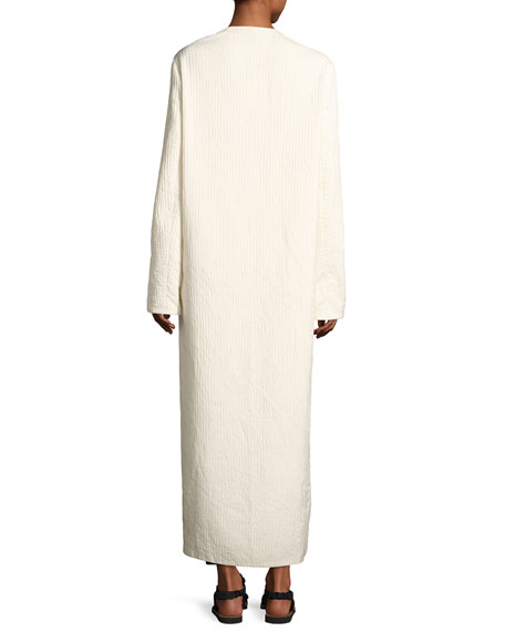 Tiel Crinkled Silk Duster Coat, Light Beige