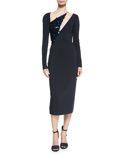 Larissa Long-Sleeve Sequined-Panel Dress, Navy