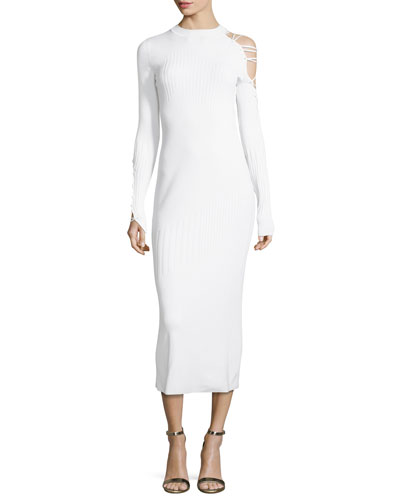 Gabriela Mock-Neck Lace-Up Dress with Ribbed Panels, White
