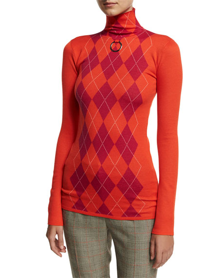 b4a3ad17f Stella McCartney Argyle Wool Turtleneck Sweater