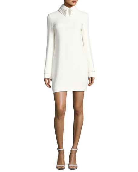 Crepe Minidress with Petal Collar & Cuffs