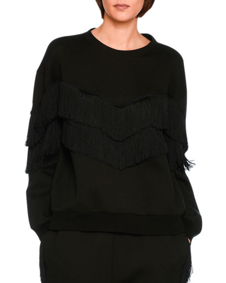Tiered V-Fringe Sweatshirt, Black