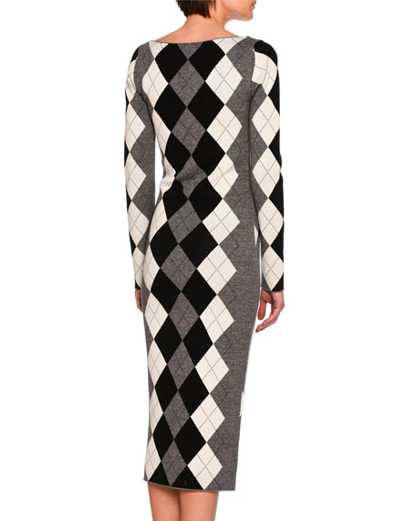 Long-Sleeve Argyle Knit Sweaterdress, Gray Pattern
