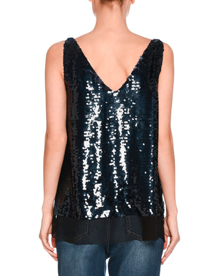 Sutton Sequined V-Neck Top, Navy