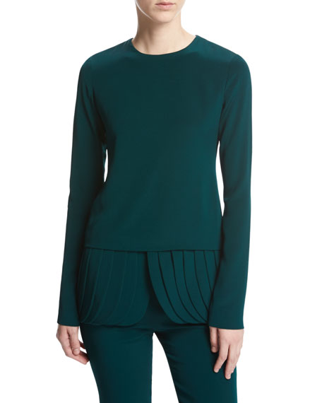 Long-Sleeve Crepe Top with Petal Peplum Hem, Forest
