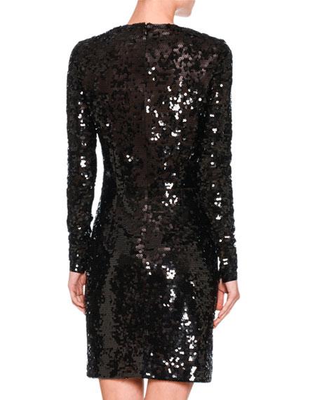 Katie Long-Sleeve Sequined Dress, Black