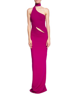 Asymmetric Crepe Gown with Wrap Collar, Raspberry