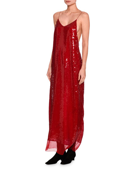 Bernice Sequined Cami Gown, Red