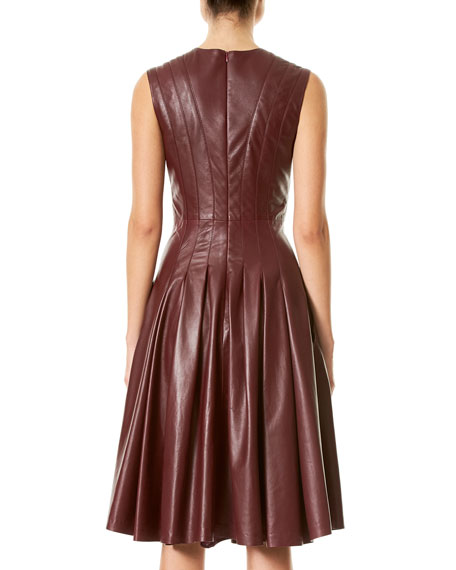 Lamb Leather Sleeveless V-Neck Dress, Burgundy