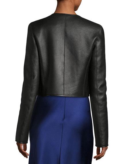 Retza Cropped Leather Jacket, Black