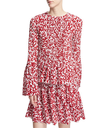 Abstract-Print Full-Sleeve Blouse, White/Red