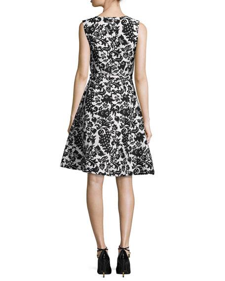 Sleeveless Silk Jacquard Dress, White/Black