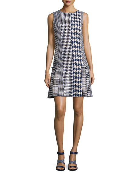 Sleeveless Mixed-Media Houndstooth Dress, Blue Pattern