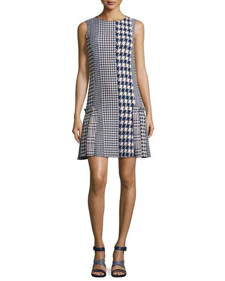 Sleeveless Mixed-Media Houndstooth Dress, Blue Pattern