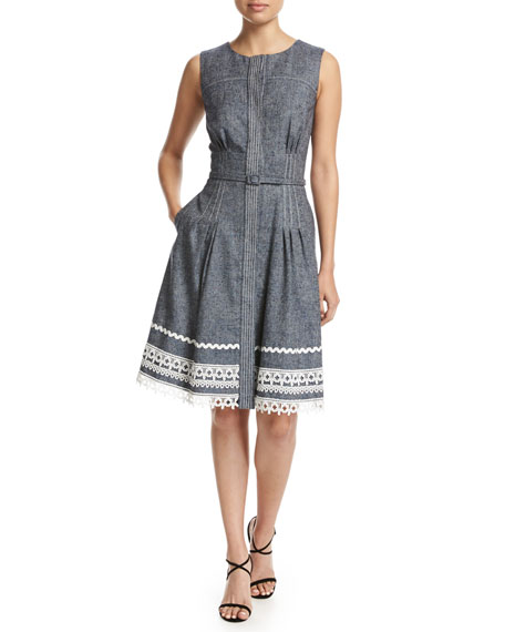 Sleeveless Lace-Trim Twill Denim Dress, Navy